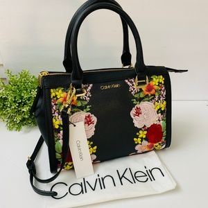 Calvin Klein Mercy Satchel Floral Leather H9AD49UK